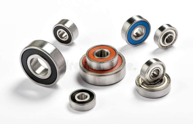 Set of metal bearings. Close-up studio shot from high angle on white background stock photography