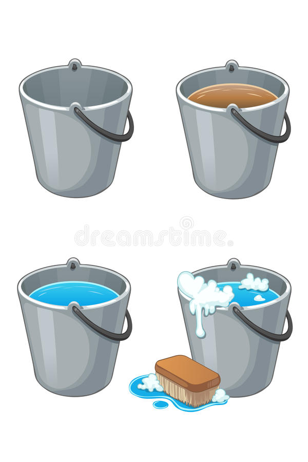 download set of metal buckets with water stock image