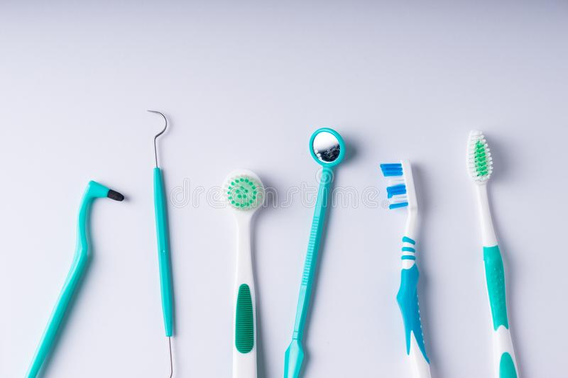 Set of metal Dentist`s medical equipment tools, top view. SONY A7 royalty free stock images