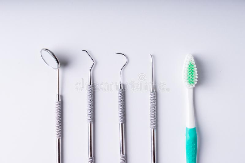 Set of metal Dentist`s medical equipment tools, top view. SONY A7 stock photos