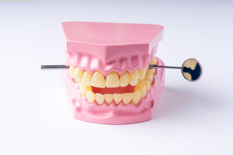 Set of metal Dentist`s medical equipment tools, top view stock image