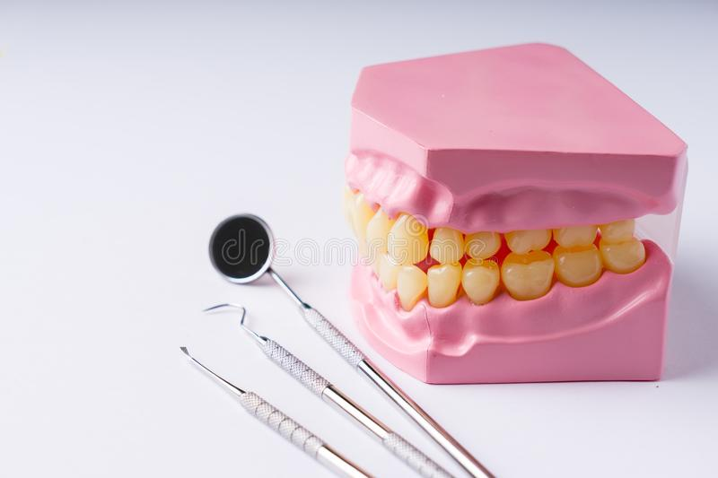 Set of metal Dentist`s medical equipment tools, top view. SONY A7 stock photography
