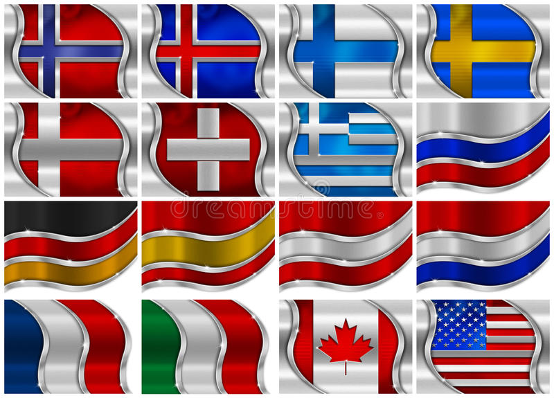 Download Set Of Metal Flags - 16 Items Stock Illustration - Image: 27583629