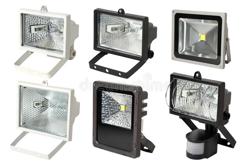 Set of metal garden flashlights.  Isolated on white background. stock images