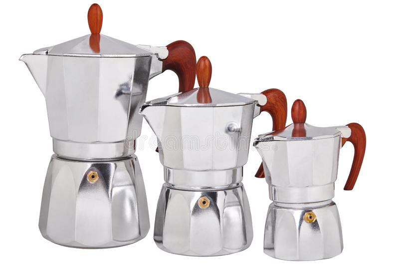 Set of Metal geyser coffee pots, coffee makers isolated on white background stock image