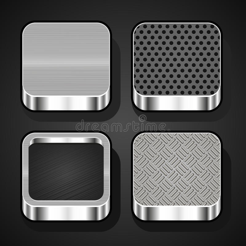 Set of metal ios icons. Set of metal textures for mobile apps stock illustration