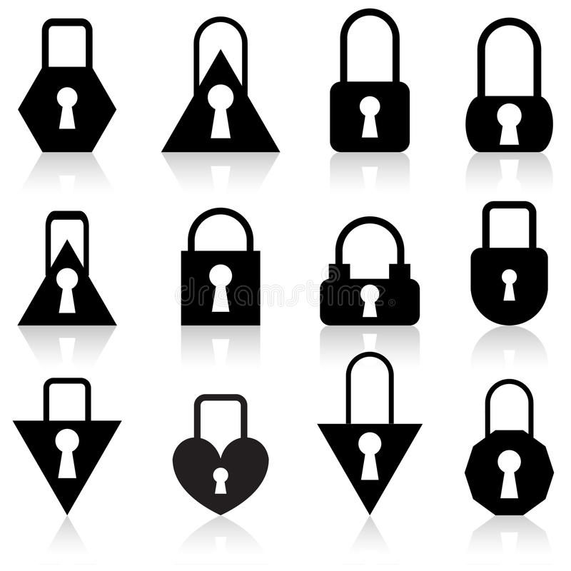 Download Set Of Metal Locks Of Different Shapes Stock Vector - Image: 22677228