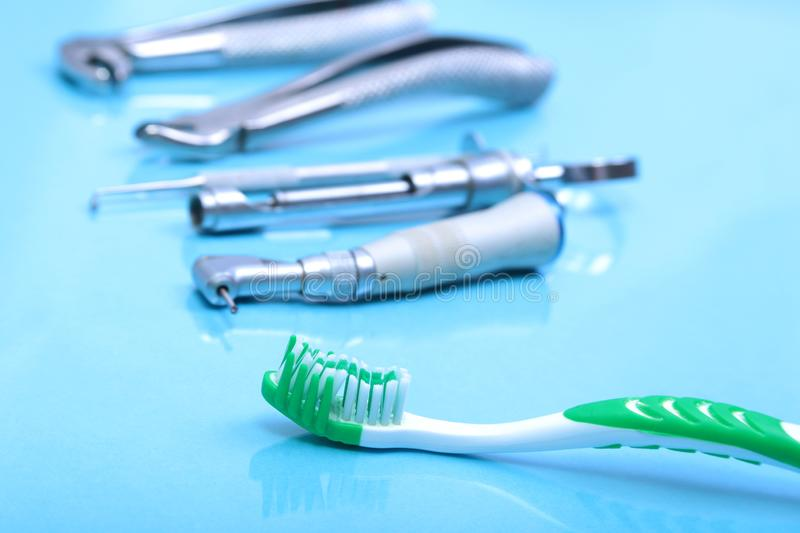 Set of metal medical equipment tools for teeth dental care.  stock images