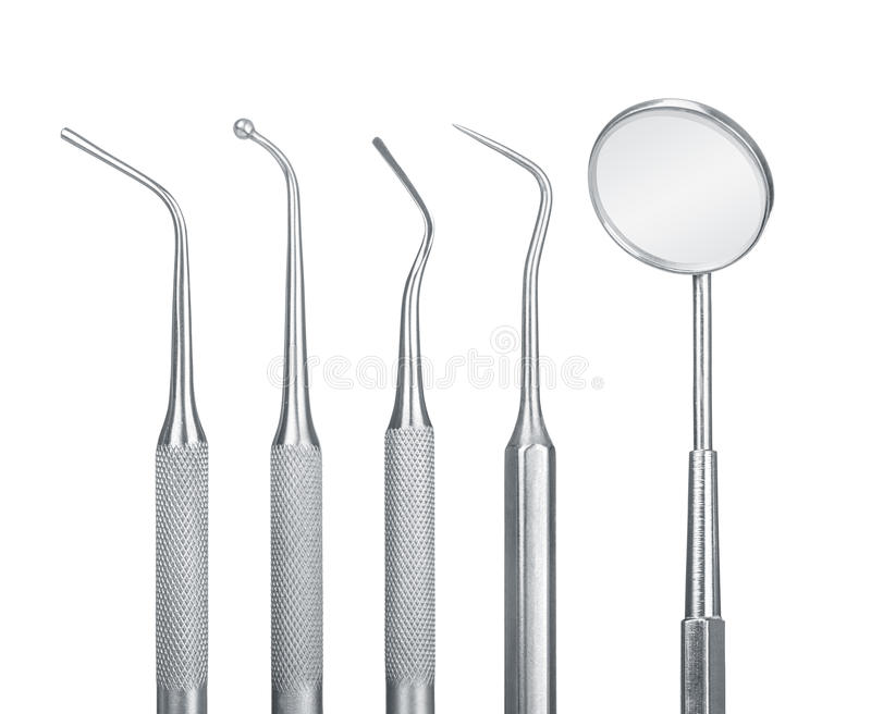 Set of metal medical equipment tools for teeth dental care. Isolated on white background royalty free stock photo