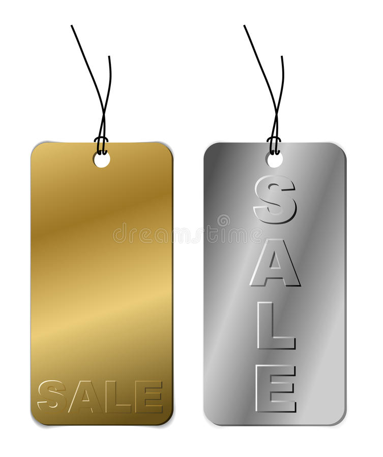 Set of metal tags for sale royalty free illustration
