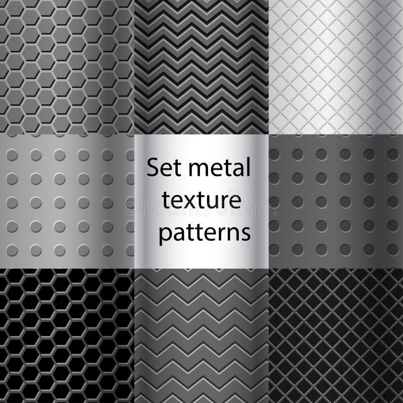 Set of metal texture seamless patterns royalty free illustration