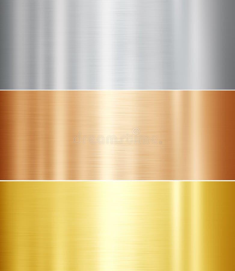 Set of metal textures stock illustration