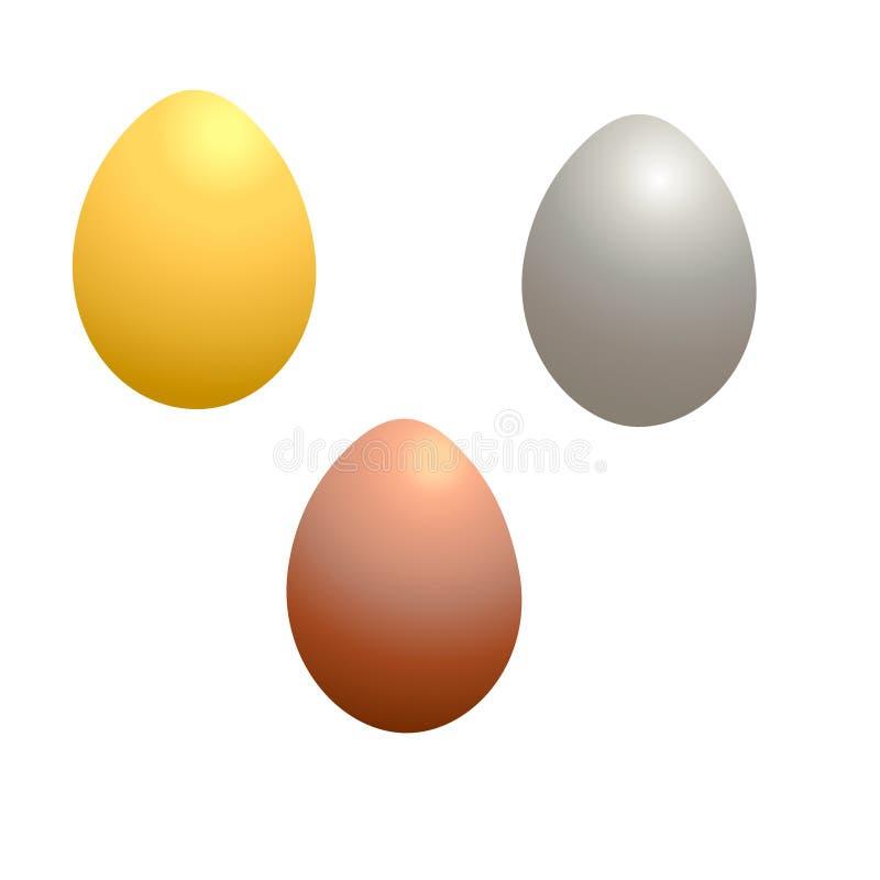 set of metal easter eggs vector illustration