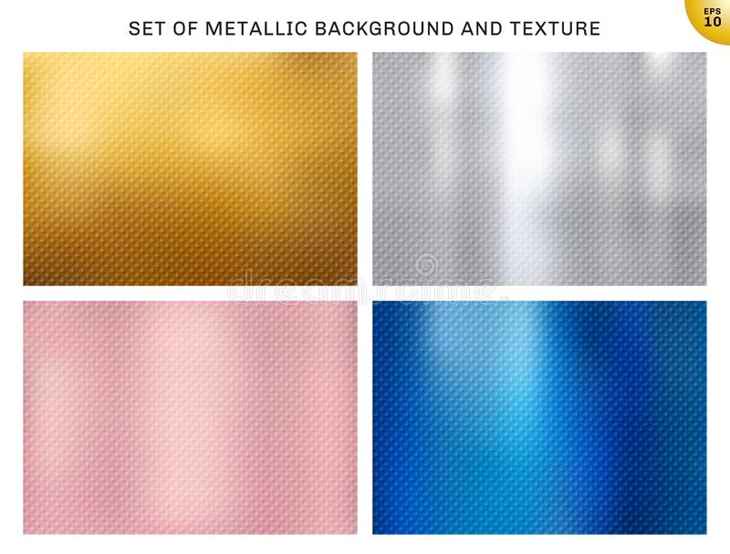 Set of metallic gold, pink gold, silver, blue metal squares pattern texture and background. Golden foil luxury style for brochure. Wedding card, poster, banner vector illustration