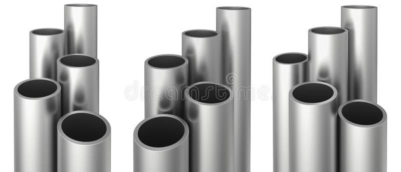 Set of metallic pipes. Isolated on white background. Stock 3d illustration. royalty free illustration