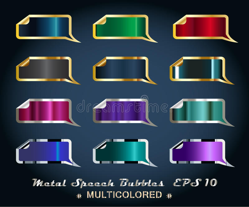 Download Set of Metallic Stickers stock vector. Illustration of internet - 21013740