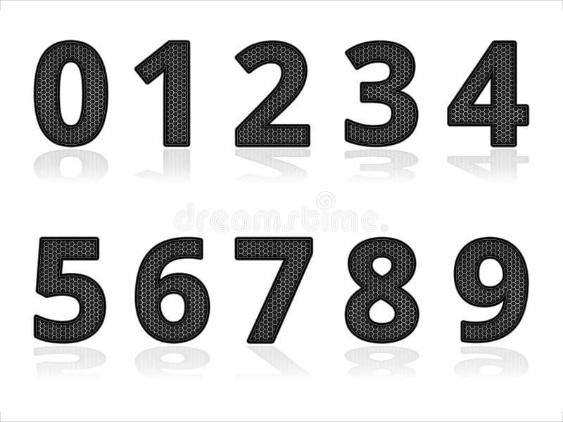 Set metalu Cyfrowego liczby Przemysłowi elementy z cieniem royalty ilustracja