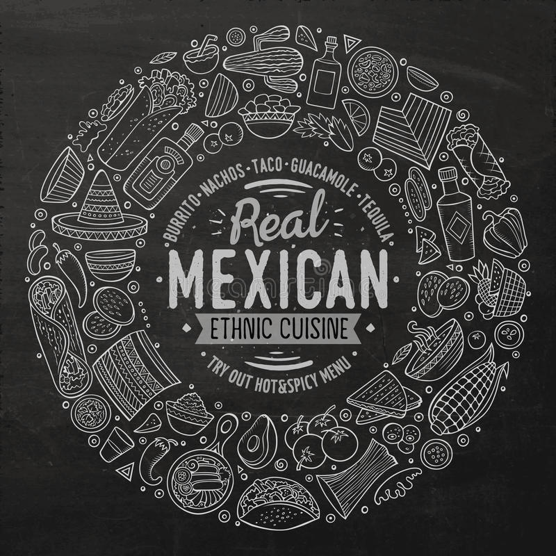 Set of Mexican food cartoon doodle objects, symbols and items stock images