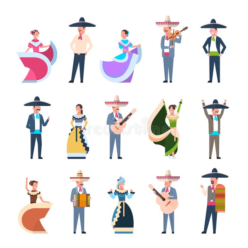 Set Of Mexican People In Traditional Costumes Dancers And Musicians Isolated On White Background royalty free illustration