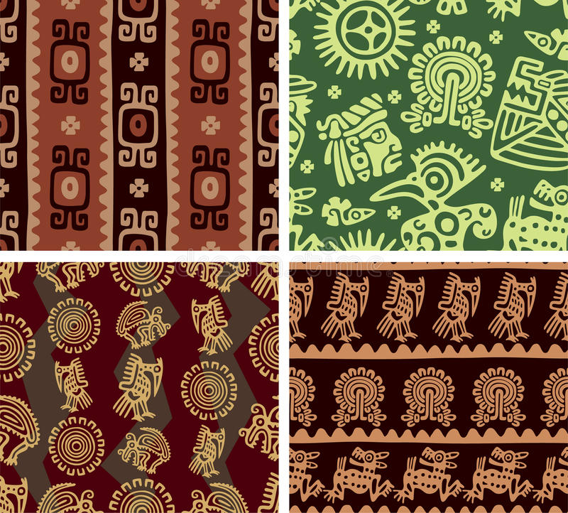 Set of Mexican Seamless Tiles stock illustration