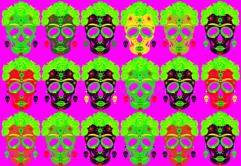 Mexican skull, Calavera with flowers. Decoration for Day of the Dead, Dia de los Muertos. Set Halloween poster background. Set Mexican skulls, Calavera with stock illustration