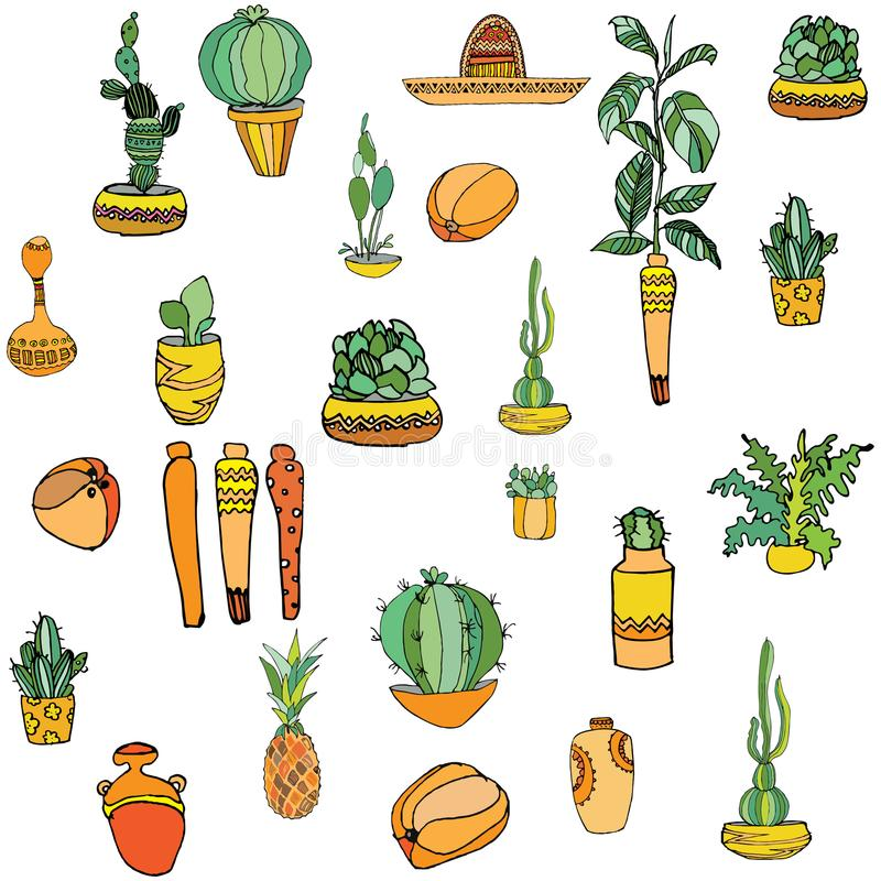 Set of mexican style illustration different cactuses, sombrero, pineapple, maraca, vases with national patterns. vector illustration
