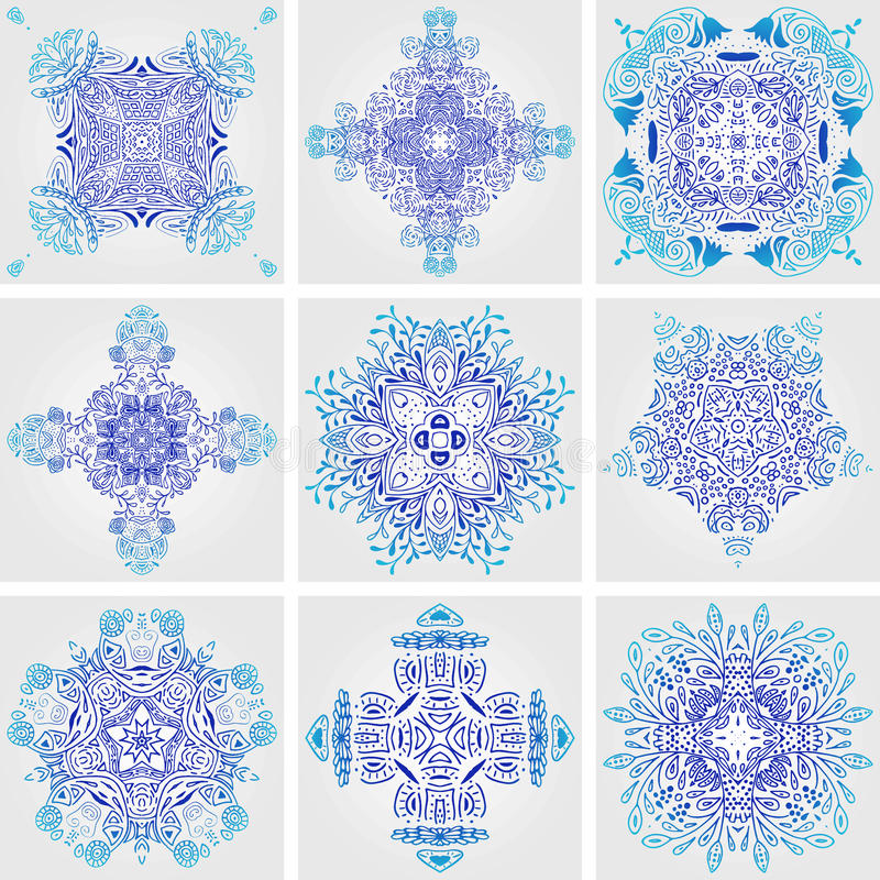 Set of Mexican stylized talavera tiles seamless pattern. Background for design and fashion. Arabic, Indian patterns, Mexican talav royalty free illustration