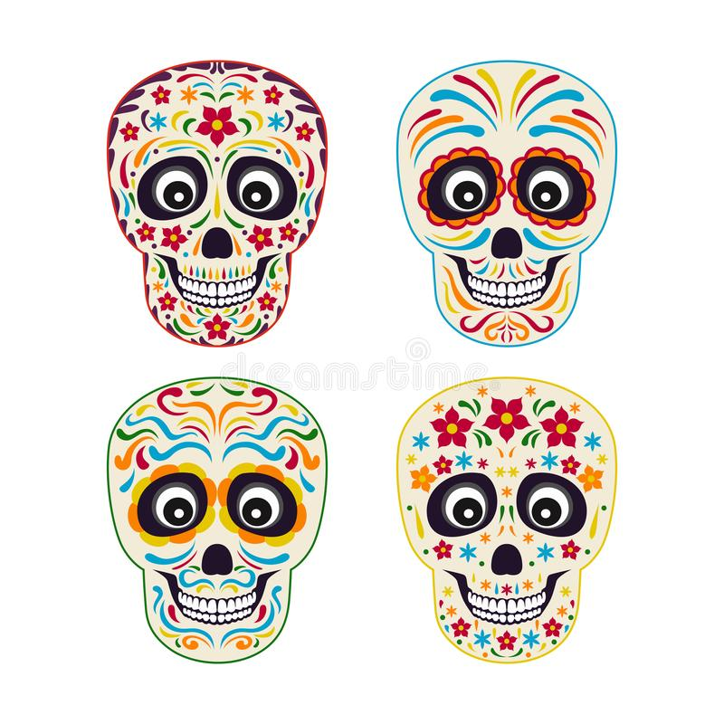 Set of mexican sugar skull with colorful ornament. vector illustration