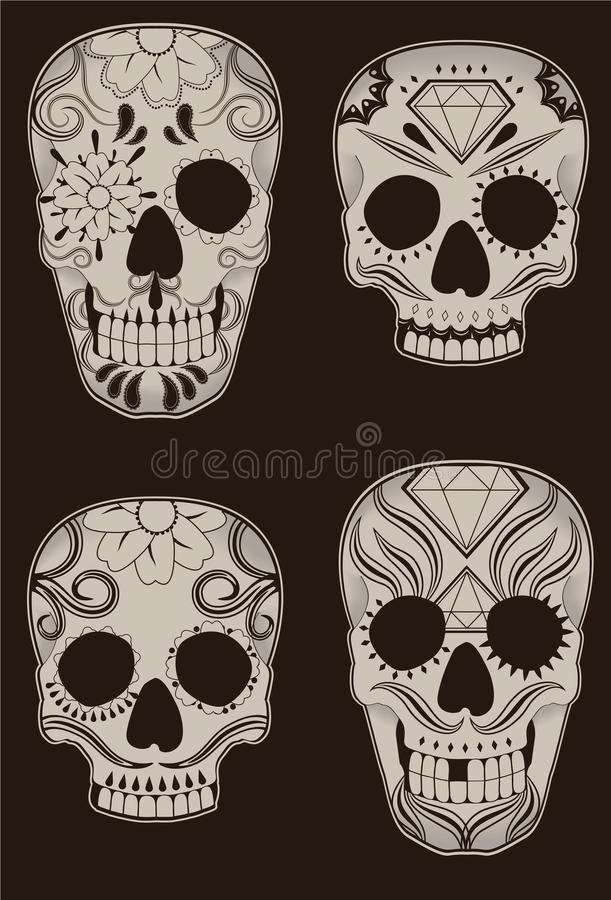 Download Set Of Mexican Sugar Skulls Stock Vector - Illustration: 19367191