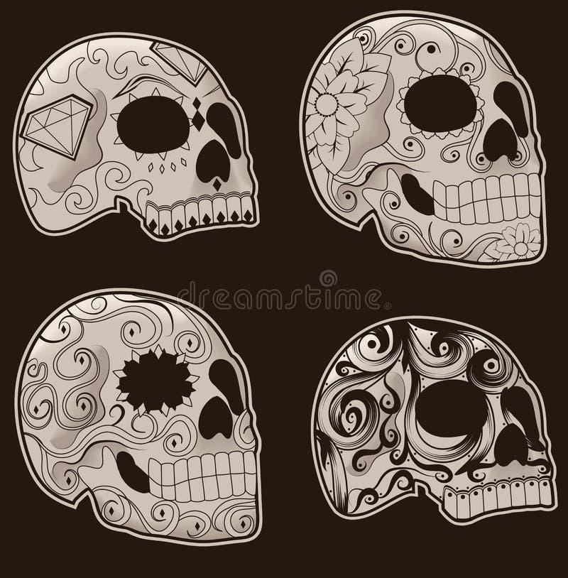 Set of Mexican Sugar Skulls. Collection of traditional mexican sugar skulls for the Day of the Dead or Dia de los Muertos stock illustration