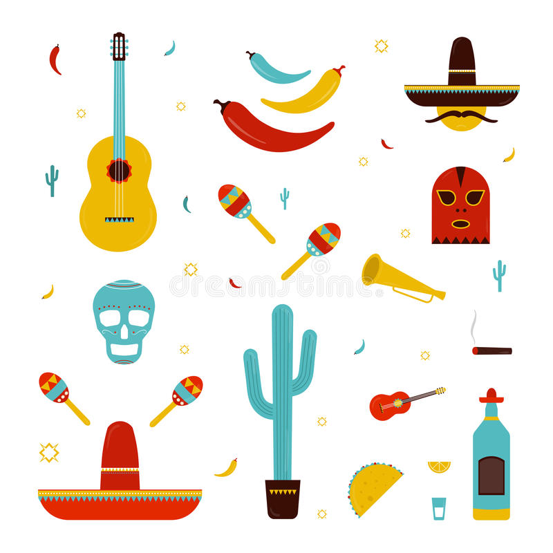 Set on a mexico theme. Different mexican bright icons collection: maracas, cactus, hat, guitar, mask, pepper, tequila stock illustration