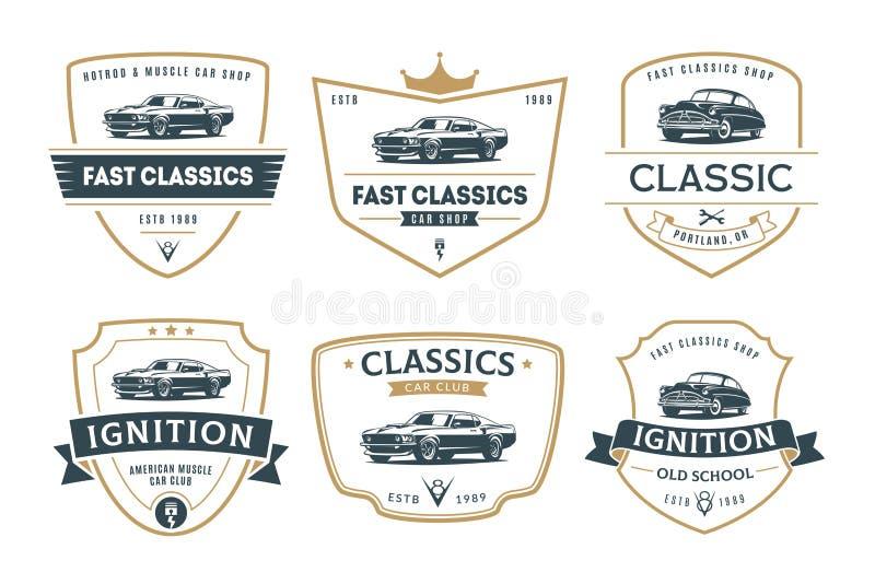 Set mięśni samochodowi emblematy odznaki i ilustracja wektor