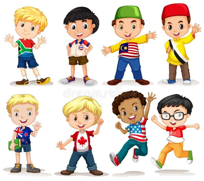 Set międzynarodowa chłopiec ilustracja wektor