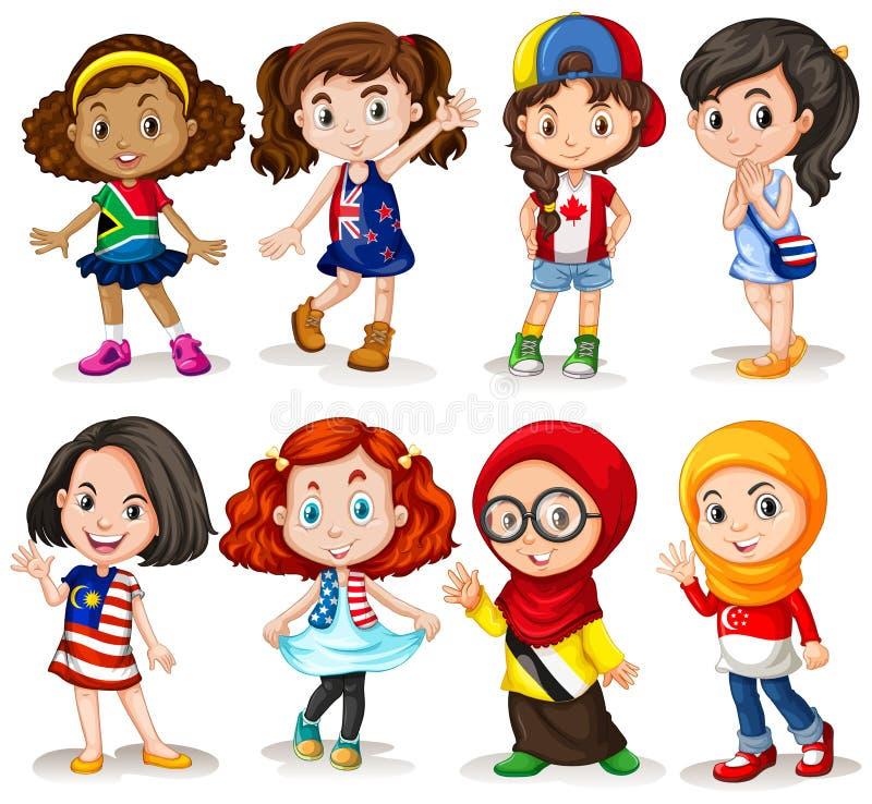 Set międzynarodowa dziewczyna ilustracja wektor