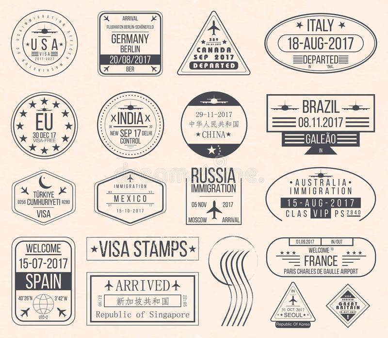 Set międzynarodowi wiza znaczki Rocznik podróży wizy paszporta znaczki royalty ilustracja