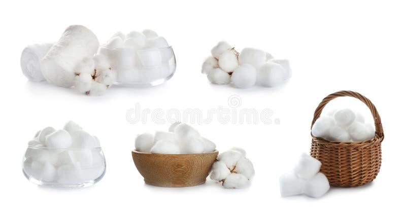 Set miękka bawełna na bielu zdjęcia royalty free
