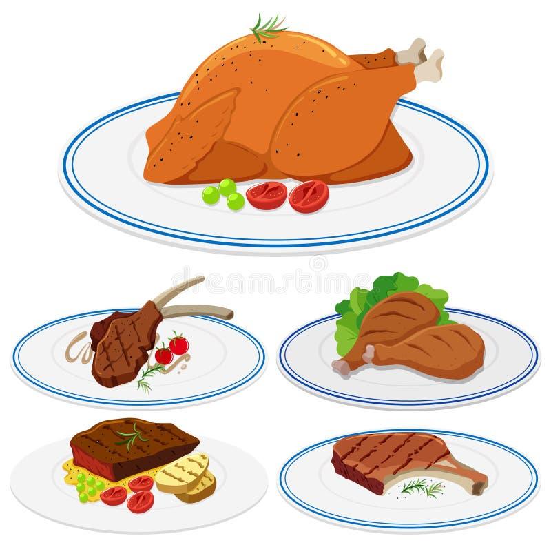 Set mięsny jedzenie na talerzu ilustracja wektor