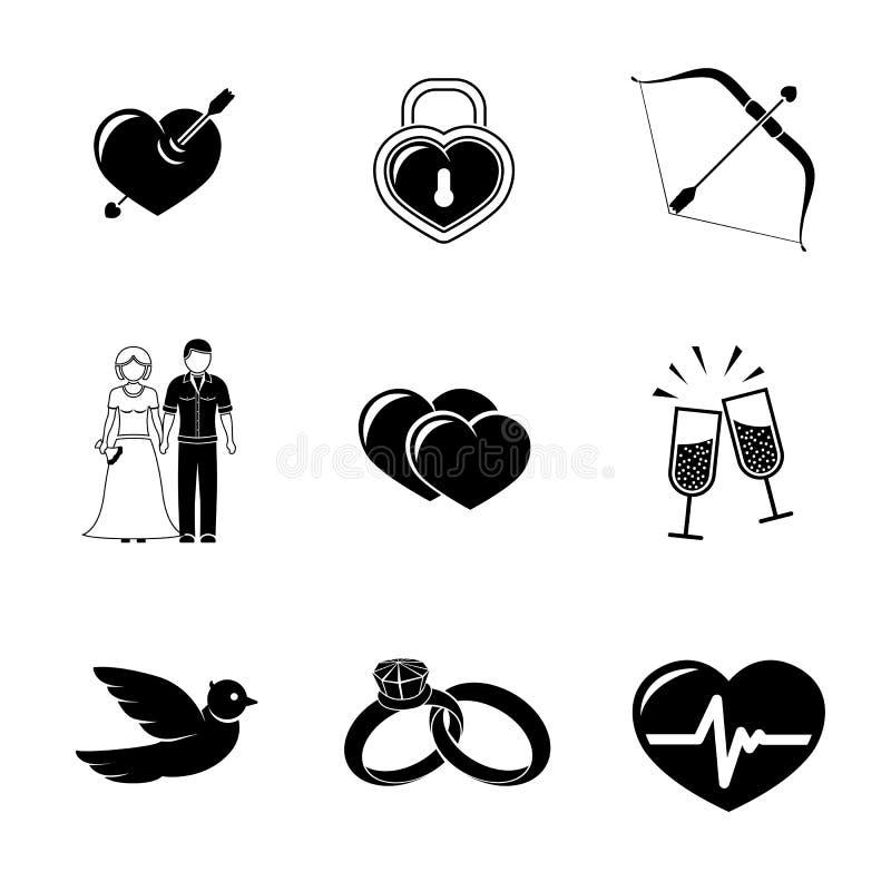 Set miłość, Amour ikony - serce z strzała, dwa royalty ilustracja