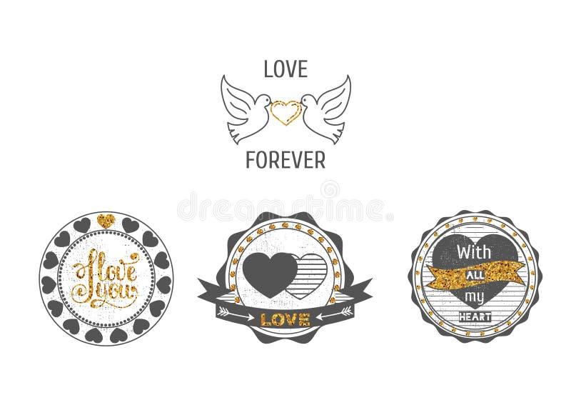 Set miłość stempluje w szarość i z złotem błyska ilustracji