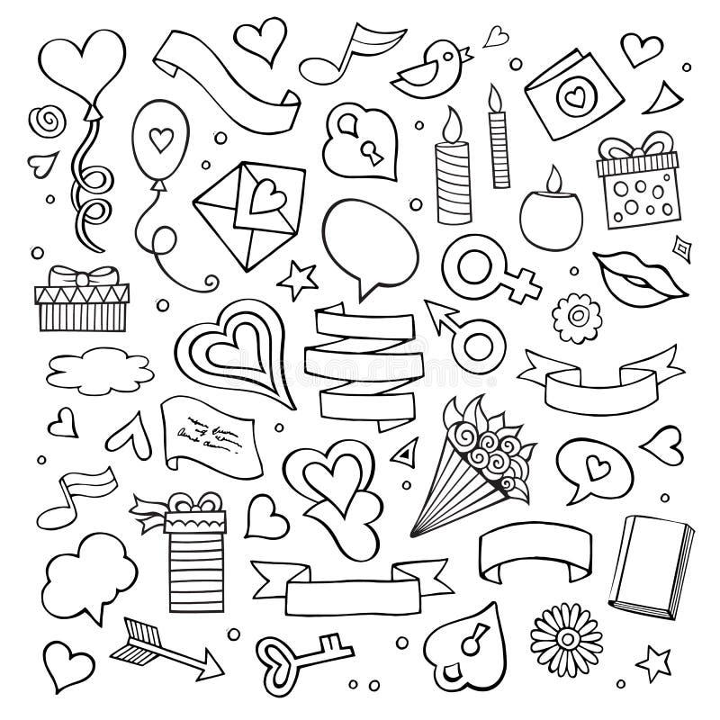 Set miłości doodle ikony wektorowe ilustracja wektor