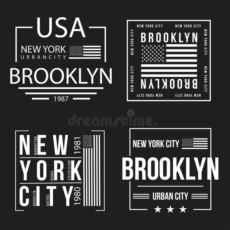Set Miasto Nowy Jork, Brooklyn typografia dla koszulka druku Flaga amerykańska w białym kolorze Koszulek grafika ilustracji