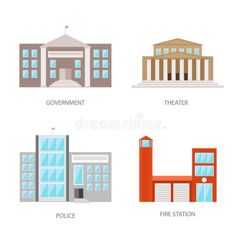 Set miastowi budynki w mieszkanie stylu Rządowy budynek, teatr, policja i posterunek straży pożarnej, Wektor, ilustracja ilustracja wektor