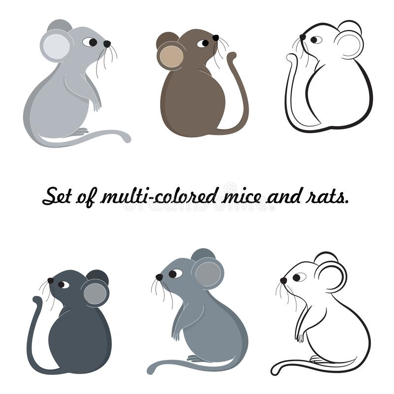 Set of mice and rats made in gray, brown and black colors, isolate, white background. Symbol of 2020, Chinese New Year vector illustration