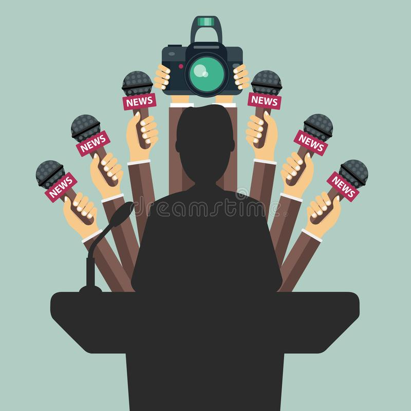 Set of microphones and camera in front of businessman giving a speech. Mass media royalty free illustration