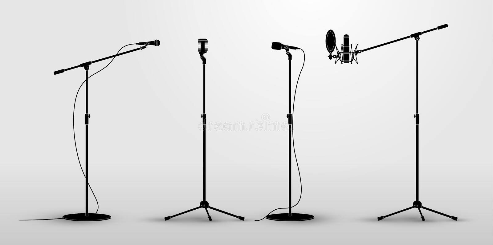 Set of microphones on counter. Flat design silhouette microphone, music icon, mic. Vector illustration. Isolated on white backgrou stock illustration