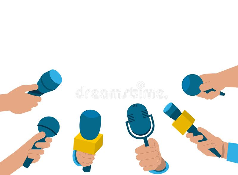 A set of microphones in hand. Media tv, interview. A set of microphones. Media tv, interview, information for television, broadcasting mass, communication stock illustration