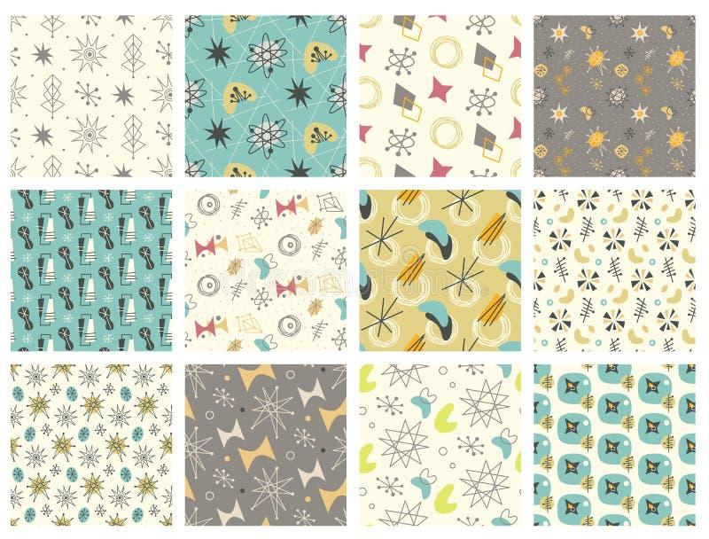 Set of Mid century modern seamless pattern royalty free illustration