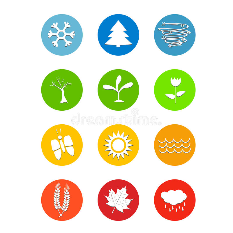 Set 12 miesiąca kalendarzowej ikony pogody cztery sezonu ilustracja wektor