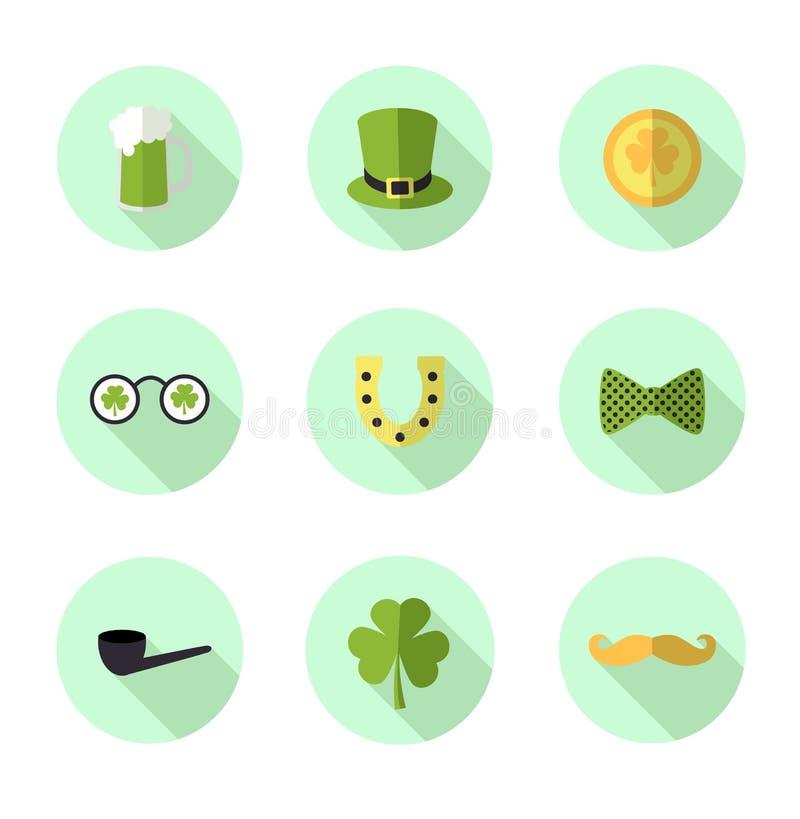 Set mieszkania St Patrick dnia wektoru ikona Leprechaun kapelusz E ilustracja wektor