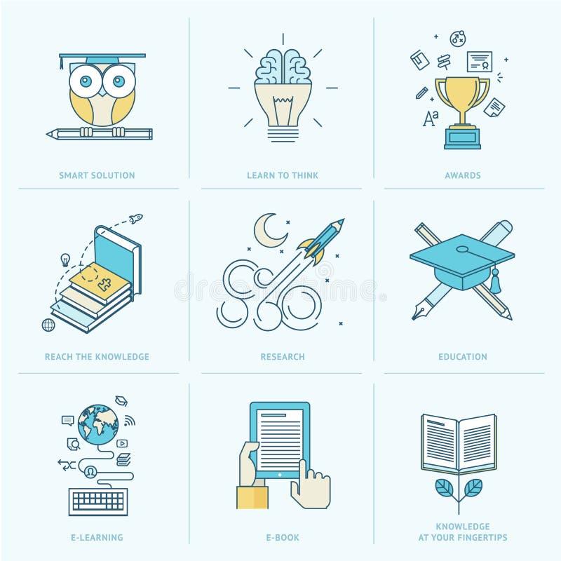 Set mieszkanie linii ikony dla edukaci ilustracja wektor